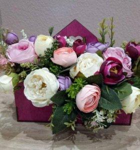 цветочки в деревчнном кашпо