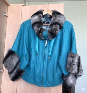 Куртка кожаная с мехом шиншиллы