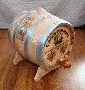 Бочка дубовая с днём рождения на 10 литров