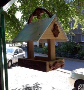 Кормушка для птиц уличная ручная работа на цепи