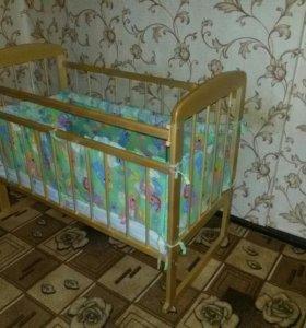 детская кроватка+бортики+матрас