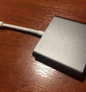 Переходник для Macbook c USB-C на HDMI+USB+USB-C