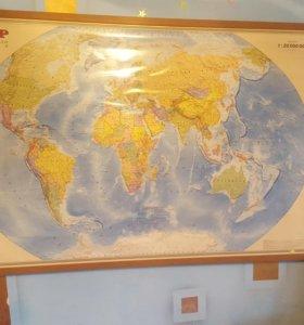 Карта мира большая на раме. 1:20млн