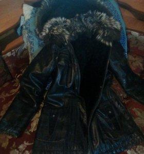 Куртка кожаная женская зимняя