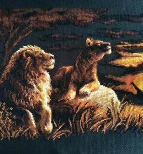"""Вышитая картина без оформления """"львы в саванне"""""""