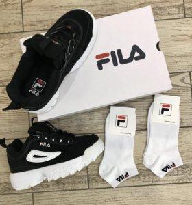 Кроссовки Fila Disruptor 2 Оригинал чёрные + носки