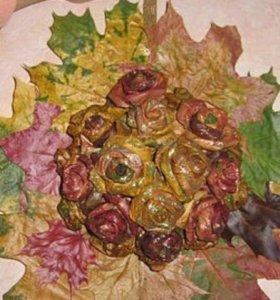 Аппликация панно розы из листьев