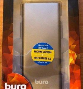 Power Bank BURO RB-10000-QC3.0-I&O, 10000мAч