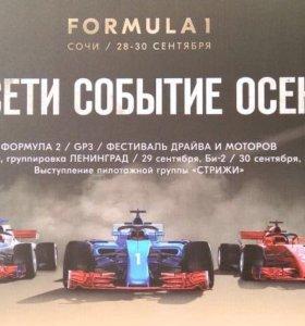 Билеты на фестиваль Формула 1 28-30 сентября!