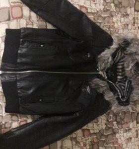 Кожанная утепленная куртка