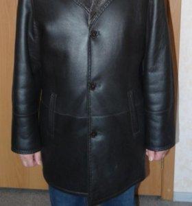 Качественная чёрная мужская дубленка р50-52