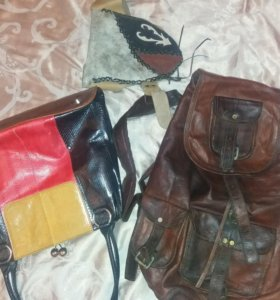 Сумки кожаные и рюкзак в ассортименте