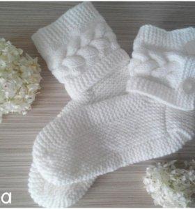 Вязаные носки шерстяные
