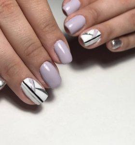 Маникюр с покрытием гель-лак Наращивание ногтей