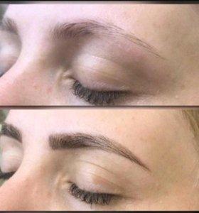Оформление бровей +полировка волос