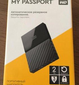 Внешний жёсткий диск WD My Passport, 2ТБ, черный