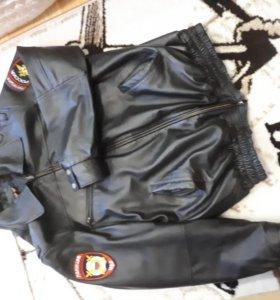 Кожаная полицейская куртка