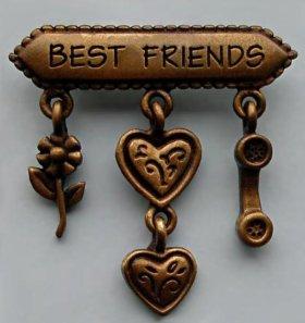 "Брошь JJ ""Best friends"" США 1980-е"