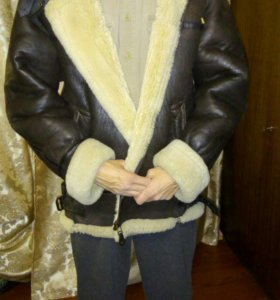 Куртка-пилот кожаная зимняя, размер 50-52
