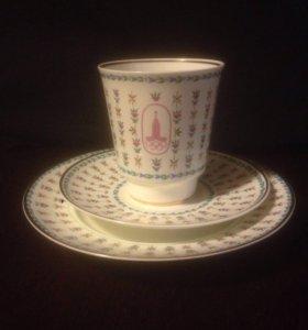 Чашка с блюдцем Олимпиада-80 ЛФЗ СССР