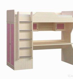 Детская кровать-чердак со столом и шкафом