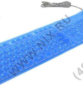Клавиатура Gembird KB-109FEL1-BL-RU, гибкая,