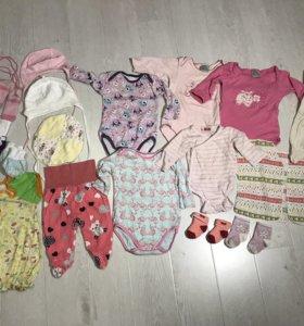 Пакет одежды на девочку 0-4 месяца