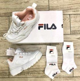 Кроссовки Fila Disruptor Оригинал 2 белые +носки