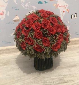 Настоящие розы забальзамированные