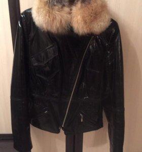 Куртка женская, натуральный мех, натуральная кожа
