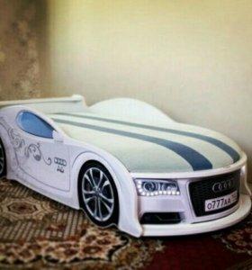 Кроватка Машинка Audi Белая Доставка