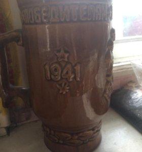 Коньячный рог быка и Керамическая ваза