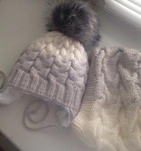 Зимний комплект для малыша. Шапка и снуд
