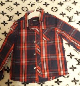 Детская рубашка в клетку, размер 98