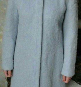 Armani голубое мохеровое пальто тренч автоледи