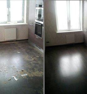 Уборка квартир, помещений. Уборка после ремонта.