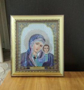 Казанская икона Божьей матери в синем