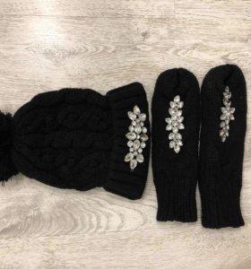 Комплект шапка +варежки