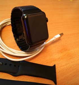 Apple watch 2-42, stainless steel, black, новые