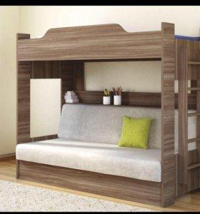 2 ярусная кровать с диваном