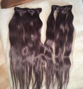 Накладные пряди на заколках натуральный волос