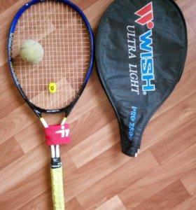 Ракетка теннисная+чехол+мяч+повязка