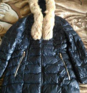 Тёплый пуховик из экокожи женский 54 размер