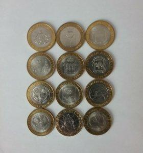 Набор монет биметаличаские 12шт монеты мешковые