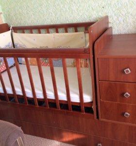 Детская кроватка трансформер с матрасиком
