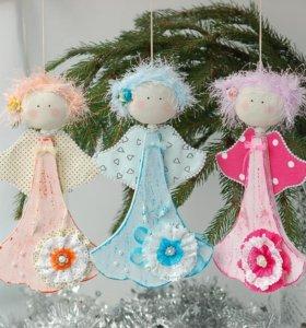 Рождественские ангелочки в стиле шебби-шик.