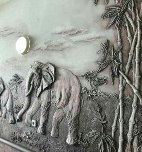 Барельеф(худ.лепнина ручной работы), роспись стен