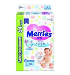 Подгузники Merries для детей размер L 9-14кг 64шт