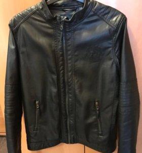 Утеплённая кожаная куртка