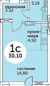 Квартира, студия, 30.1 м²